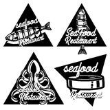 Vintage seafood restaurant emblems Stock Photography