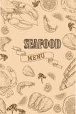 Vintage seafood restaurant flyer Royalty Free Stock Images