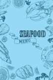 Vintage seafood restaurant flyer. Vector vintage seafood restaurant flyer. Hand drawn banner. Great for menu, banner, flyer, card, seafood business promote Stock Photography