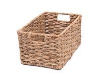 Vintage seagrass storage basket. On white background Royalty Free Stock Photos