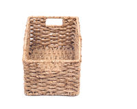 Vintage seagrass storage basket. On white background Stock Photo
