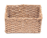 Vintage seagrass storage basket. On white background Stock Images