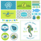 Vintage Seahorse Party Set Royalty Free Stock Photos