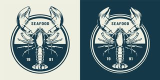 Vintage sealife round emblem. With lobster in monochrome style isolated vector illustration stock illustration