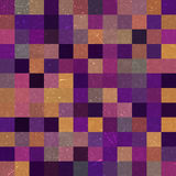 Vintage seamless abstract background with colorful squares, vect. Or illustration. Purple, brown, orange colors Stock Photos