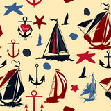 Vintage seamless back with blue ships shells and anchors Stock Image