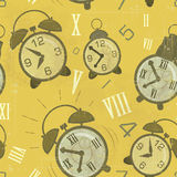 Vintage seamless background with Alarm Clocks Royalty Free Stock Photos