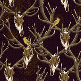 Vintage seamless background with a deer skull Royalty Free Stock Photos
