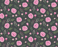Vintage seamless background with field flowers and herbs. Vector dark floral pattern Royalty Free Stock Image