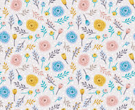 Vintage seamless background with field flowers and herbs. Vector light floral pattern Stock Photography