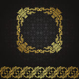 Vintage seamless background with frame and ribbon Stock Photo