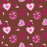 Vintage seamless background with hearts and flower Stock Images
