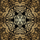 Vintage seamless background with lacy ornament. Golden pattern, Royalty Free Stock Image