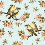 Vintage seamless background with retro birds in the garden Royalty Free Stock Photo