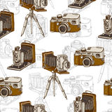 Vintage Seamless Background with Retro Camera. Vintage Seamless Monochrome Background with Retro Camera, Vector Hand Drawn Illustration Royalty Free Stock Photos