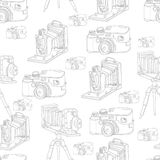 Vintage Seamless Background with Retro Camera. Vintage Seamless Monochrome Background with Retro Camera, Vector Hand Drawn Illustration Stock Photos