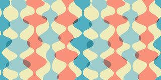 Vintage seamless background, retro pattern. Chaotic multicolored waves, garlands. 1950s modern style. Vintage seamless background, retro pattern. Chaotic Royalty Free Stock Photos