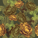 Vintage seamless background with roses and butterflies. Vector i Stock Images