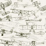 Vintage Seamless Background. Stylized Airplane Illustration Stock Photography