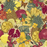 Vintage Seamless Background, Tropical Fruit Stock Photo