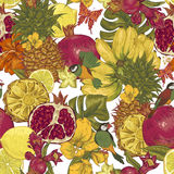 Vintage Seamless Background, Tropical Fruit Royalty Free Stock Photos