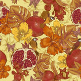 Vintage Seamless Background, Tropical Fruit Stock Image
