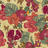 Vintage Seamless Background, Tropical Fruit Stock Photography