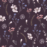 Vintage Seamless Background with Wildflowers Stock Photo