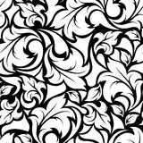 Vintage seamless black and white floral pattern. Vector illustration. Stock Image
