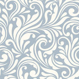 Vintage seamless blue and white floral pattern. Vector illustration. Royalty Free Stock Image