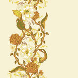Vintage seamless border with blooming magnolias Royalty Free Stock Image