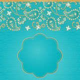 Vintage seamless border in Eastern style. Ornate vintage seamless border with lacy ornament. Persian style background. Place for your text. It can be used for Stock Image