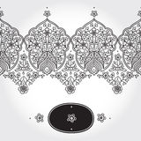 Vintage seamless border with lacy ornament. Royalty Free Stock Photo
