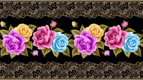 Vintage seamless border with roses Stock Photography