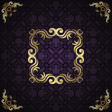 Vintage seamless damask background. With frame. Greeting card Stock Images
