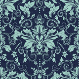 Vintage seamless damask pattern. Dark background Royalty Free Stock Photo