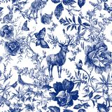 Vintage seamless design with floral and wild animal. Fairytale forest. hand drawn pattern roses flower line graphics.