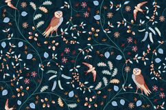 Free Vintage Seamless Fabric Ornament With Flowers And Birds On Dark Blue Background. Middle Ages William Morris Style Royalty Free Stock Photos - 199042708