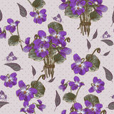 Vintage Seamless Floral Background with Violets Royalty Free Stock Photography