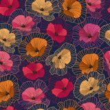 Vintage seamless floral pattern, abstract flowers on dark background stock illustration
