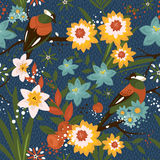 Vintage seamless floral pattern with birds Stock Photo