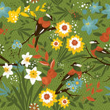 Vintage seamless floral pattern with birds Royalty Free Stock Images