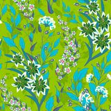 Vintage seamless floral pattern on a black background. Spring flowers and herb. Botanical vector illustration. Bright. Green and blue Royalty Free Stock Photo