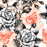Vintage seamless floral pattern. Hand drawn stock illustration
