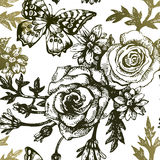 Vintage seamless floral pattern. Hand drawn Royalty Free Stock Photography