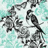 Vintage seamless floral pattern. Hand drawn. Illustration with bird and butterfly Royalty Free Stock Photo