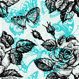 Vintage seamless floral pattern. Hand drawn vector illustration