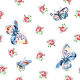 Vintage seamless floral pattern. Vintage inspired vector floral seamless pattern with roses and butterflies Royalty Free Stock Photo