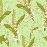 Lilies of the valley. Seamless background. Vintage seamless floral pattern with lilies of the valley Royalty Free Stock Photo