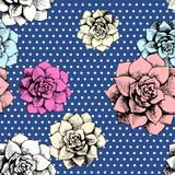 Vintage seamless flower pattern with dots Stock Photo